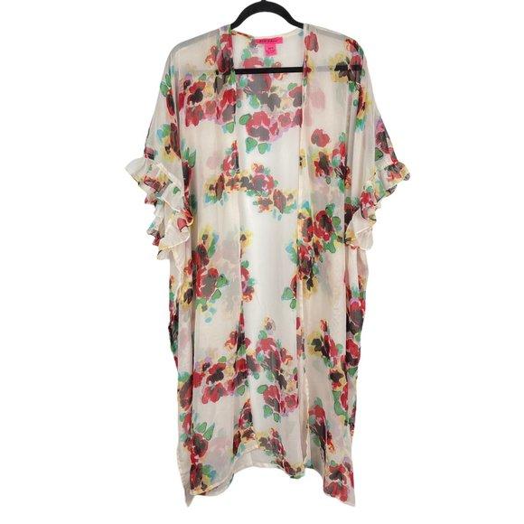 Betsy Johnson OSFM Sheer Boho Floral Coverup